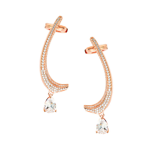 SAVINAN Sterling silver pave set earrings with teardrop white zircon rose gold plated