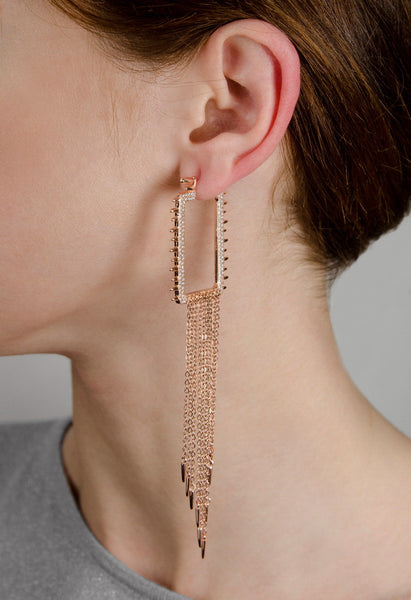 GINERA Sterling silver rectangle hoop earrings with chains