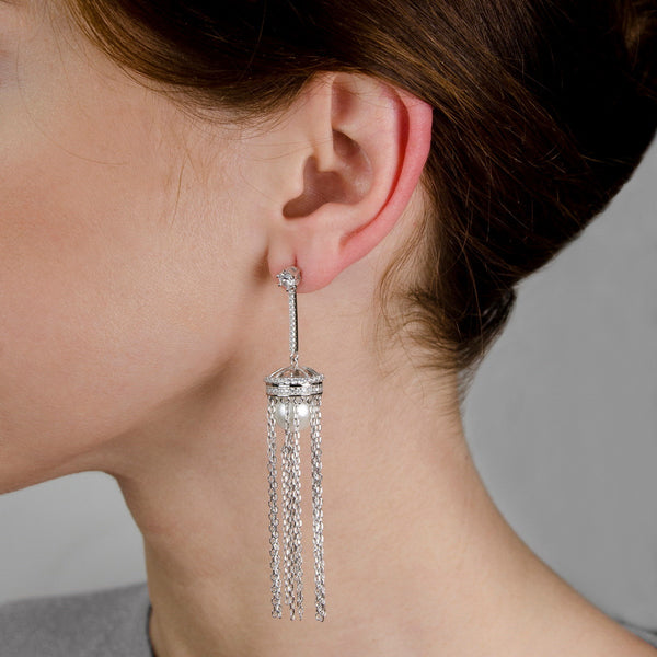 ROSINA Sterling silver pearl earring drop with multi chains