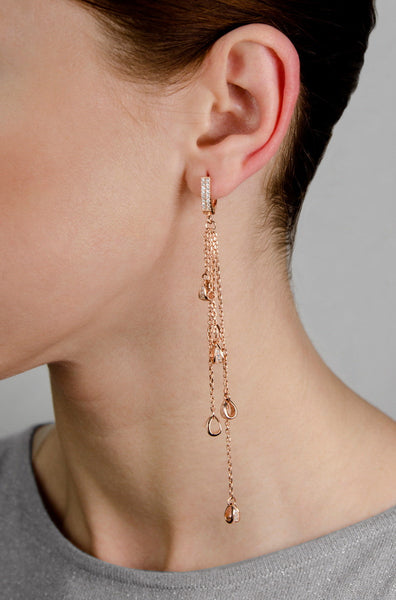 ZARAH Sterling silver multi chain drop earrings rose gold plated