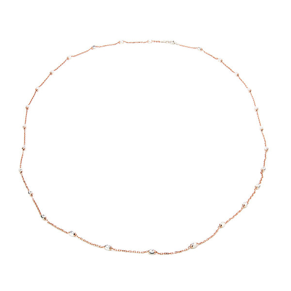 GABRIELLA Sterling silver chain with 27 diamond cut finish beads