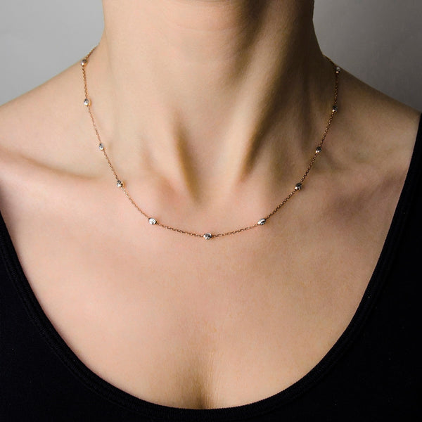 GABY Sterling silver chain with 17 diamond cut finish beads