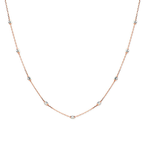BELL Gold Plated Sterling Silver Adjustable Cubic Zirconia Beaded Chain Necklace