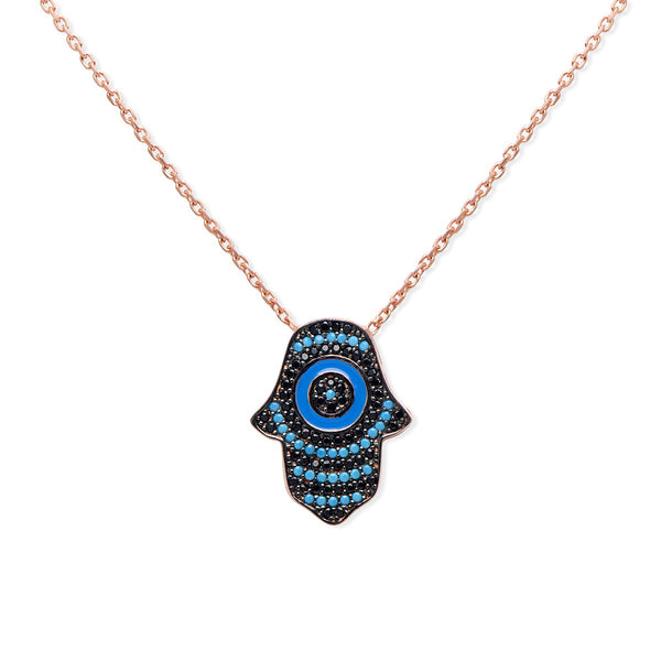 LISA Sterling silver hamsa pendant necklace with turquoise and black zirconia rose gold plated