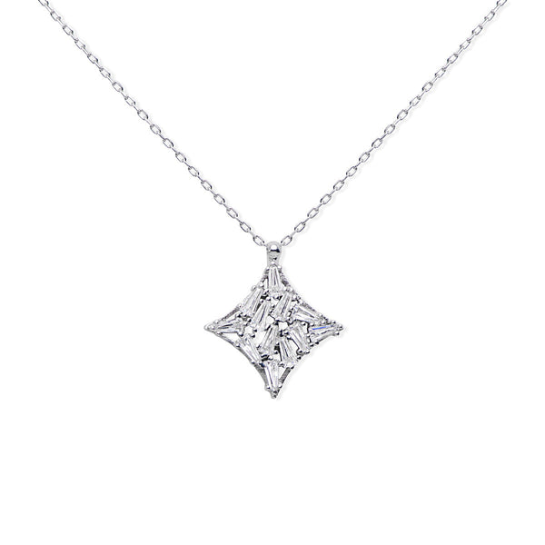 LORETTO Sterling silver pendant on the chain with cluster of clear baguette zirconia stones.
