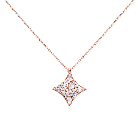 CLARISSA Sterling silver round Hamsa medallion pendant necklace with black and white zirconia stones rose gold plated
