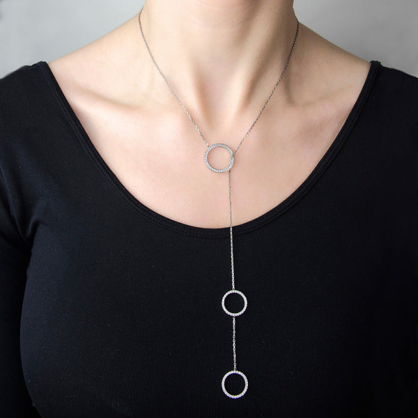 LUISA Handmade sterling silver three - ring lariat necklace with zirconia stones.