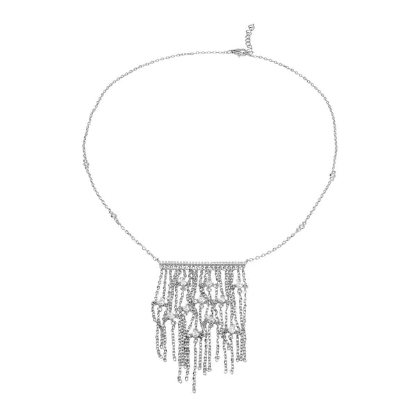 LUSIA Sterling silver necklace with drop down chains and zirconia center peace