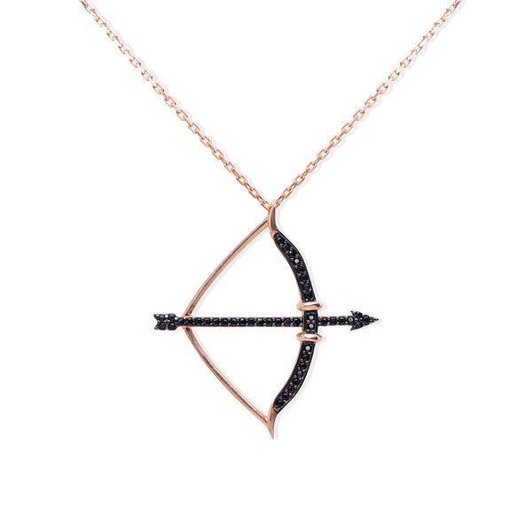 MARCELLA Sterling silver and black zirconia bow and arrow pendant necklace
