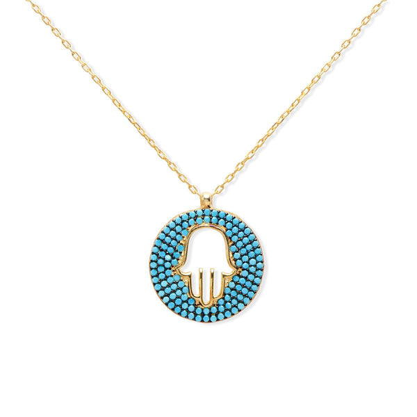 MARZIA Sterling silver round Hamsa pendant necklace with turquoise stones gold plated