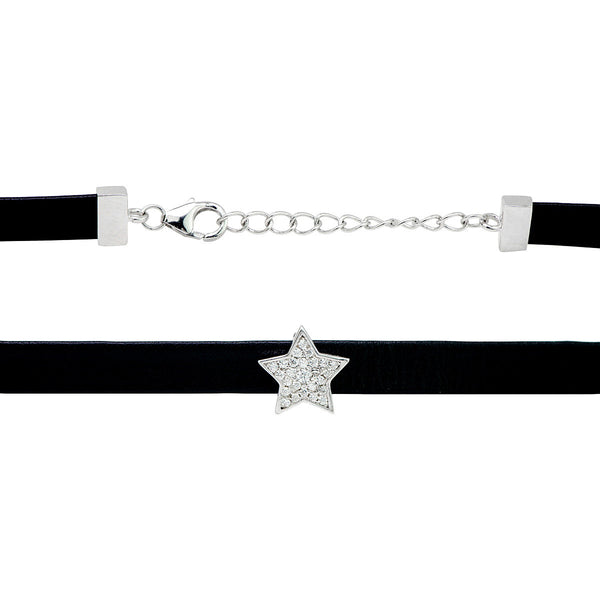f74e023e1739e NATALY Leather choker necklace with sterling silver star charm