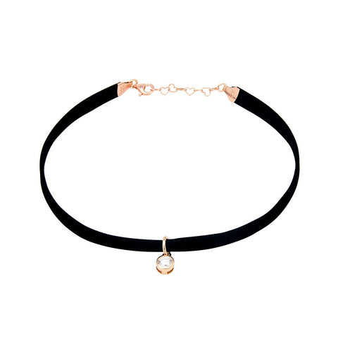 NATALY Leather choker necklace with sterling silver star charm