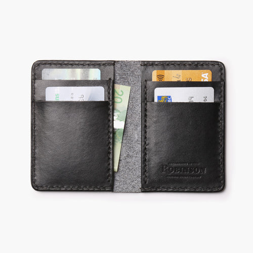 Vertical Leather Wallet - Black