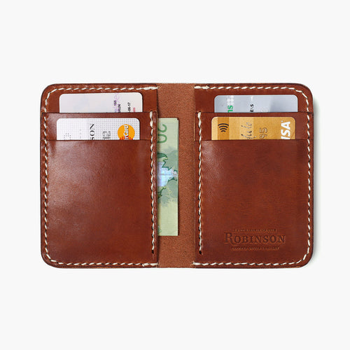 Vertical Leather Wallet - Brown