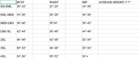 Prairie Couture Private Label Size Chart