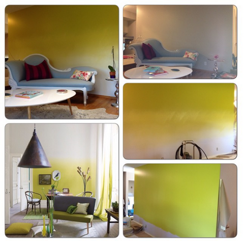 My living room and feature wall above, the Designers Guild ombre wall below