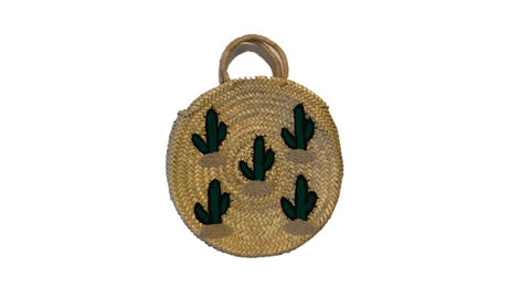 Ibiza Roundie Tote, Cactus Embroidery