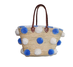 Marrakech Medium Pom Pom Straw Tote, Azure
