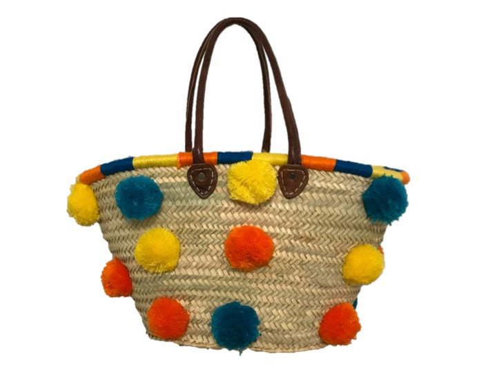 Marrakech Medium Pom Pom Straw Tote, Capri