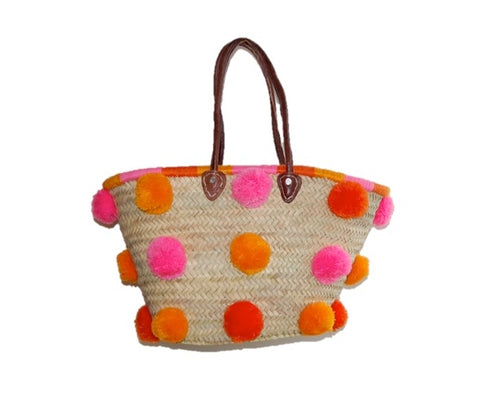 Marrakech Medium Pom Pom Straw Tote, Jaipur