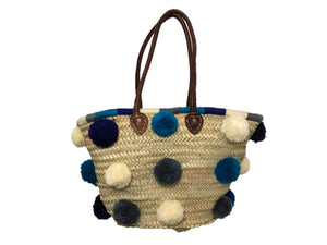 Marrakech Medium Pom Pom Straw Tote, Mar