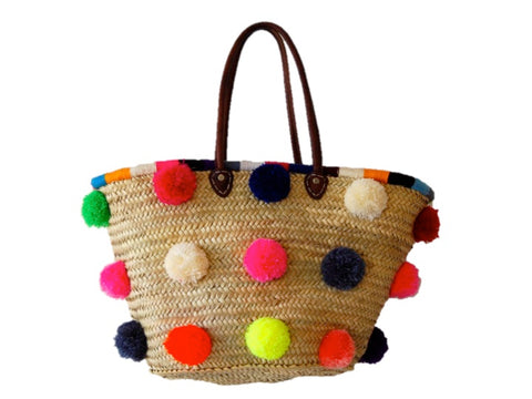 Marrakech Medium Pom Pom Straw Tote, Multi