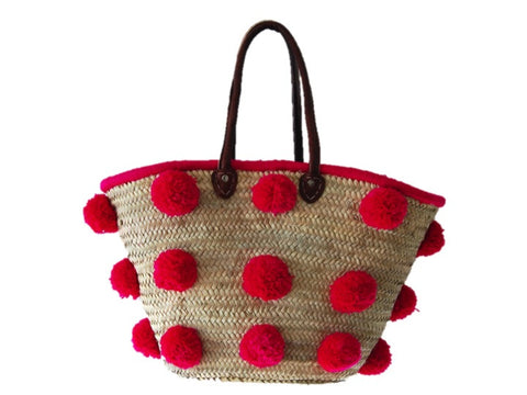 Marrakech Medium Pom Pom Straw Tote, Fuchsia