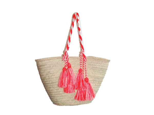 Valencia Rope Tote with Tassels, Coral/White