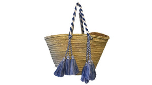Valencia Rope Tote with Tassels, Azure
