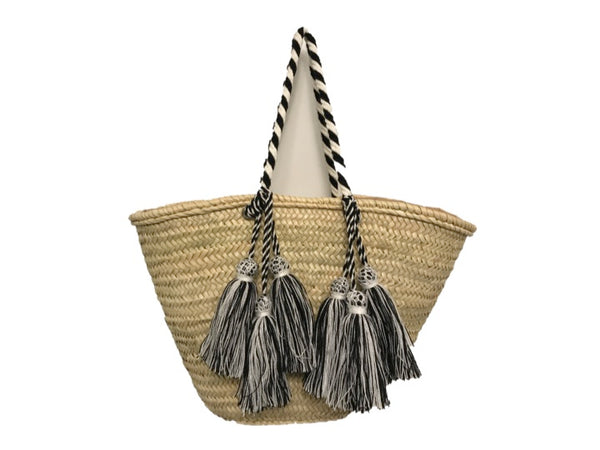 Valencia Rope Tote with Tassels, Black/White