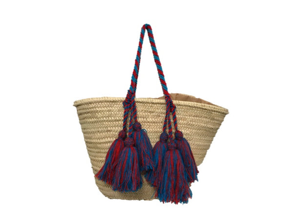 Valencia Rope Tote with Tassels, Cherry/Blue