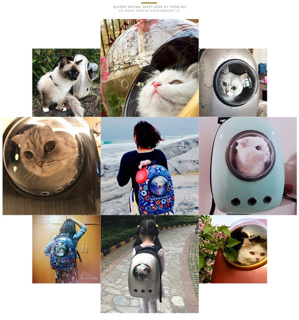 Pet Cat Dog Backpack Carrier Breathable Astronaut Travel Bag