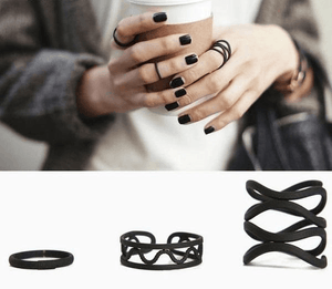 Black Hollow Finger Ring Set For Women - Jewelry & Watches / Fashion Jewelry / Rings