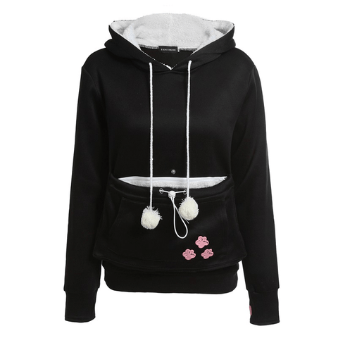 Image of Cat Hoodie With Ears And Kangaroo Pouch Carrier - Women's Clothing / Tops & Sets / Hoodies & Sweatshirts