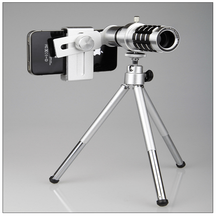 iPhone Camera Lens Aluminium 12X Zoom With Tripod Kit - Phones & Accessories / Mobile Phone Accessories / Lenses