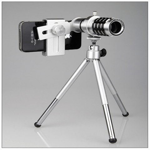 Image of iPhone Camera Lens Aluminium 12X Zoom With Tripod Kit - Phones & Accessories / Mobile Phone Accessories / Lenses