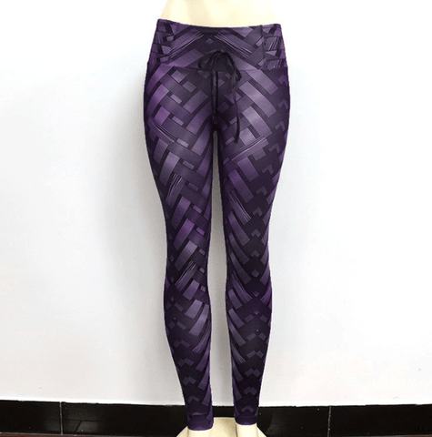 Image of High Waist Iron Armor Weave Print Push Up Yoga Pants Workout Leggings For Women - Women's Clothing/Bottoms/Leggings