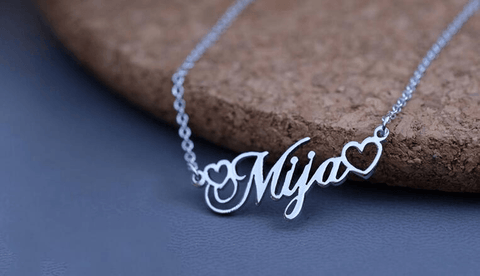 Image of Custom Name Double Heart Stainless Steel Necklace For Men Or Women - Jewelry & Watches / Fashion Jewelry / Bracelets & Bangles