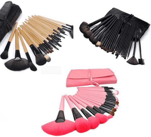 Image of 24 Makeup Brush Kit in Pink Black Wood Colors - Home Improvement / Tools / Tool Sets