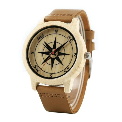 Image of Natural Wood Compass Watch - Jewelry & Watches / Men's Watches / Quartz Watches