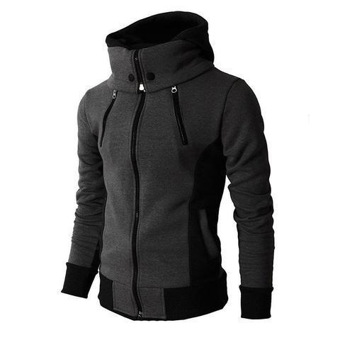 Men's High-Necked Hooded Jacket - Men's Clothing / Outerwear & Jackets / Hoodies & Sweatshirts