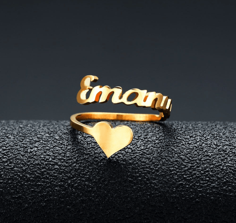 Image of Personalized Custom Name Heart Ring In Gold And Silver - Jewelry & Watches / Fashion Jewelry / Earrings
