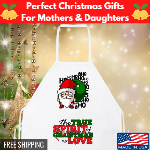Image of 🎄 The True Spirit Of Christmas Is Love Funny Santa Apron Gift 🎁