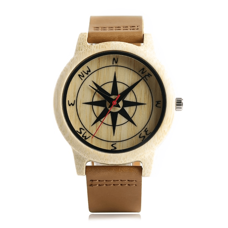 Natural Wood Compass Watch - Jewelry & Watches / Men's Watches / Quartz Watches