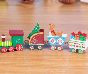 4 Pieces Mini Wood Train Christmas Toys For Kids