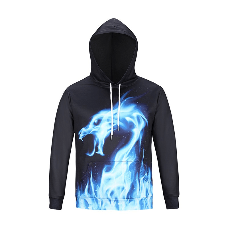 Dragon Hoodie Graphic Hoodie 3D Blue Dragon Printed Hoodies - Men's Clothing/Outerwear & Jackets/Hoodies & Sweatshirts