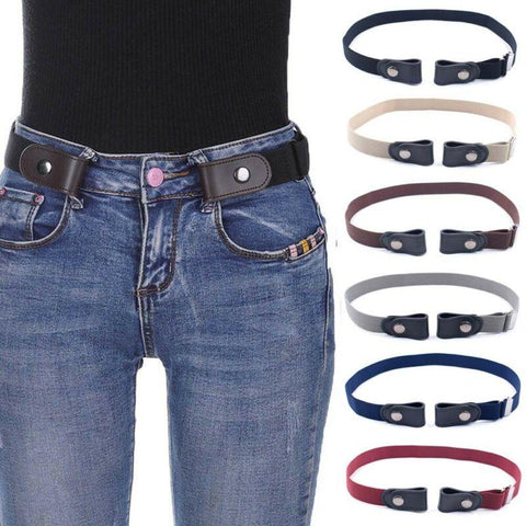 Image of Leather Buckle Free Belt - Women's Clothing / Accessories / Belts & Cummerbunds