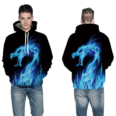 Image of Dragon Hoodie Graphic Hoodie 3D Blue Dragon Printed Hoodies - Men's Clothing/Outerwear & Jackets/Hoodies & Sweatshirts