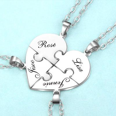 Image of Engraved S925 Silver Jigsaw Puzzle Breakable Heart Pendant Necklaces for Couples, Friends & Family - Jewelry & Watches/Fashion Jewelry/Bracelets & Bangles
