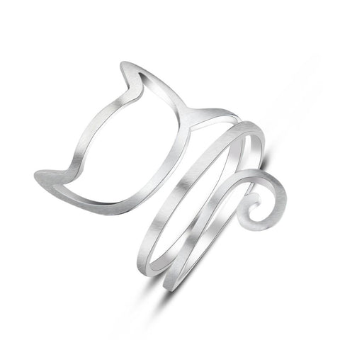 Image of Sterling Silver Cute Cat Ring - Jewelry & Watches / Fashion Jewelry / Rings